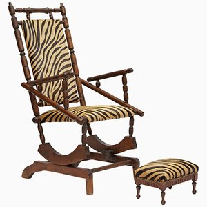 19th Century French Napoleon III Rocking Chair & Footstool