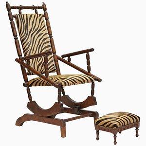 Rocking Chair et Repose-Pieds Napoléon III du 19ème Siècle, France