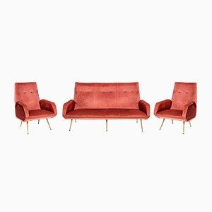 Italienisches Sofa und 2 Sessel, 1950er