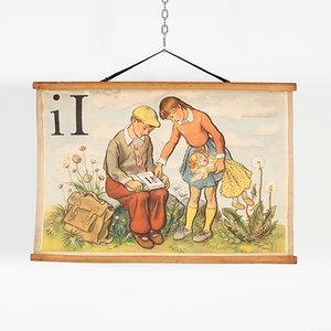 Poster dell'alfabeto raffigurante la lettera i, anni '70