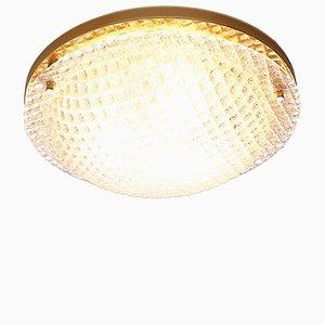 Große Strukturierte Vintage Glas Deckenlampe von Fischer Leuchten