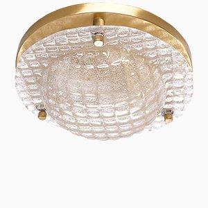 Luz de montaje vintage de vidrio con relieve de Fischer Leuchten
