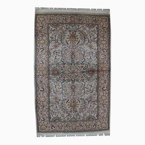Alfombra Indo-Tabriz india vintage de seda hecha a mano, años 50