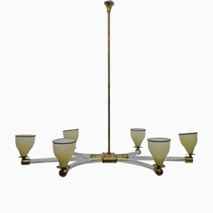 Glass and Brass Chandelier by Paolo Venini, 1940s