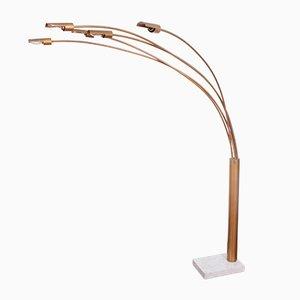 Vintage Gilt Metal 5-Armed Italian Floor Lamp