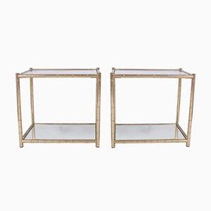 Mesas auxiliares vintage de metal dorado. Juego de 2