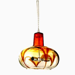 Italian Murano Amber Glass Pendant from Mazzega, 1970s