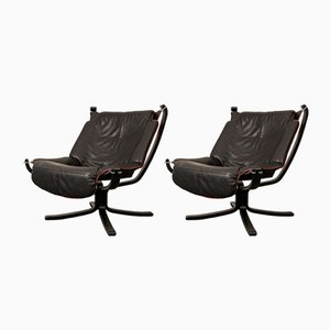 Black Falcon Chairs by Sigurd Ressell for Vatne, 1970s, Set of 2