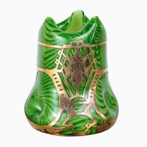 Vase Art Nouveau en Verre avec Socle en Laiton de Josef Rindskopf's Sohne, 1900s