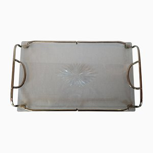 Bandeja angular Mid-Century de vidrio con mangos de cromo