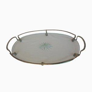 Ovales Mid-Century Glastablett mit Verchromten Griffen