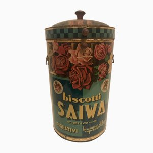 Contenitore in latta con pubblicità della Saiwa