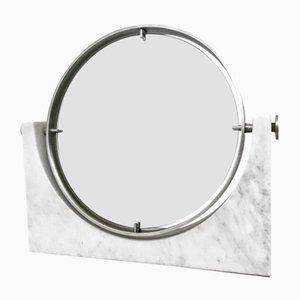 Specchio da toeletta con base in marmo di Carrara di Angelo Mangiarotti, anni '70