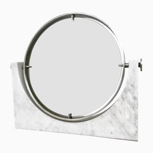 Vanity Mirror with Carrara Marble Base by Angelo Mangiarotti, 1970s