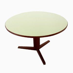 Mesa de comedor redonda de caoba y formica, años 70