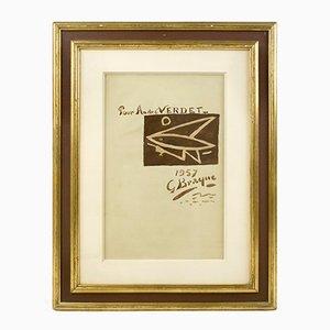Acuarela Composition au Poisson de Georges Braque, 1957