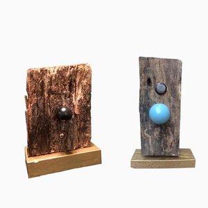 Flat Earth Holzskulpturen von Markus Friedrich Staab, 2017, 2er Set