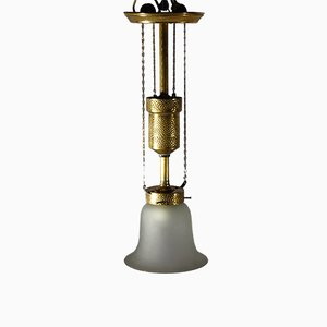 Lámpara de techo de latón martillado con campana de vidrio de Bag Turgi, década de 1900