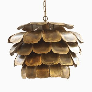Large 6435 Flame-Cut Ceiling Pendant in Brass by Sven Aage for Holm Sorensen, 1960s