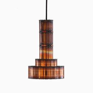 Lámpara colgante de cobre cortada con soplete de Sven Aage Holm Sørensen, años 60