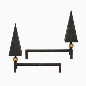Andirons par Alain Richard, 1950s, Set de 2