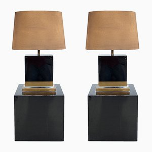 Black Lacquered Lamps by Jean-Claude Mahey, 1970s, Set of 2