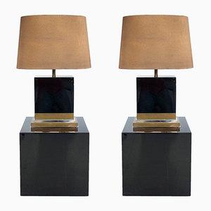Lampes Laquées Noires par Jean-Claude Mahey, 1970s, Set de 2