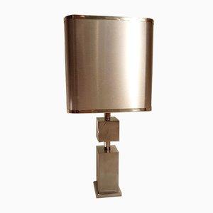 Lámpara de mesa de cromo y aluminio cepillado, años 70