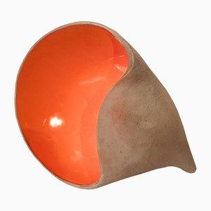 Französische Muschel Lampe aus Glasierter Keramik von ST Pair, 1950er