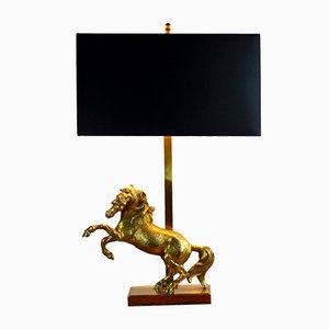 Lámpara de mesa con caballo dorado, años 60