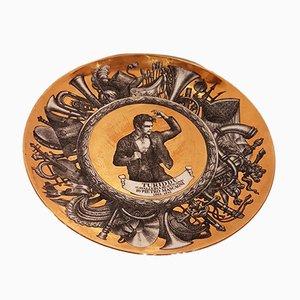 Piatto decorativo vintage dorato di Piero Fornasetti