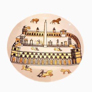 Dekorativer Vintage Steingut Teller mit Vergoldung von Piero Fornasetti
