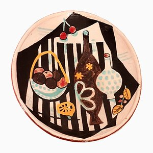 Frutero de gres decorado con naturaleza muerta de Buyse para Perignem, años 70