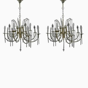 Lámparas de araña de Gaetano Sciolari, años 50. Juego de 2