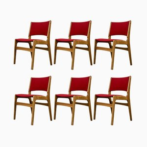 Dining Chairs in Solid Oak by Erik Buch for Oddense, 1950s, Set of 6