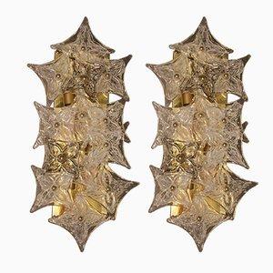 Apliques de cristal de Murano, años 80. Juego de 2