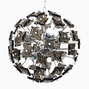 Lámpara de araña italiana de cristal ahumado, años 60