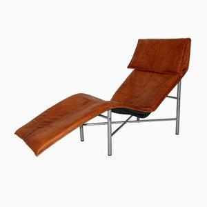 Chaise Lounge sueco de cuero coñac de Tord Bjorklund, años 70