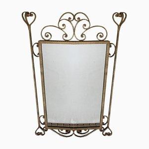 Espejo de hierro forjado dorado, años 50