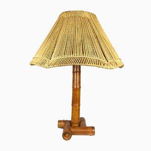 Bambus Lampe mit Leuchte aus Seil, 1950er