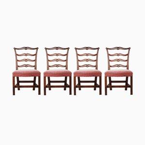 Beistellstühle aus Mahagoni mit Geschnitzter Schleifen-Rückenlehne, 1870er, 4er Set