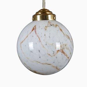 Lámpara colgante grande de vidrio artístico y latón, años 70
