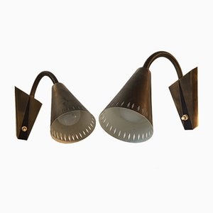 Adjustable Patinated Brass Wall Lights from Asea, 1950s, Set of 2