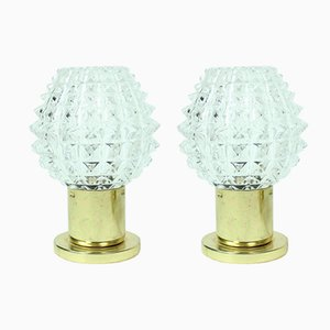 Glass and Brass Table Lamps from Lustry Kamenicky Senov, 1970s, Set of 2
