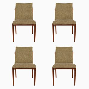 Vintage Dining Chairs in Teak and Fabric from Thereca, Set of 4