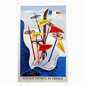 Winter Sports In France Poster von Vecoux für Paul Martial, 1947