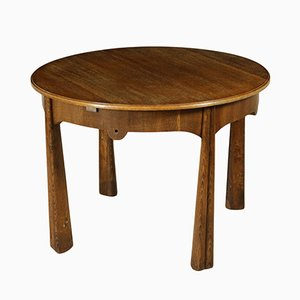 Italian Vintage Round Table in Oak Veneer, 1950s