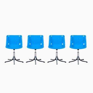 Sillas Modus en azul de Osvaldo Borsani para Tecno, años 70. Juego de 4