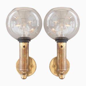Vintage V149 Patricia Glas und Messing Wandlampen von Hans Agne Jakobsson, 2er Set