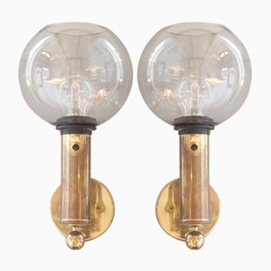 Vintage V149 Patricia Glass and Brass Sconces by Hans Agne Jakobsson, Set of 2